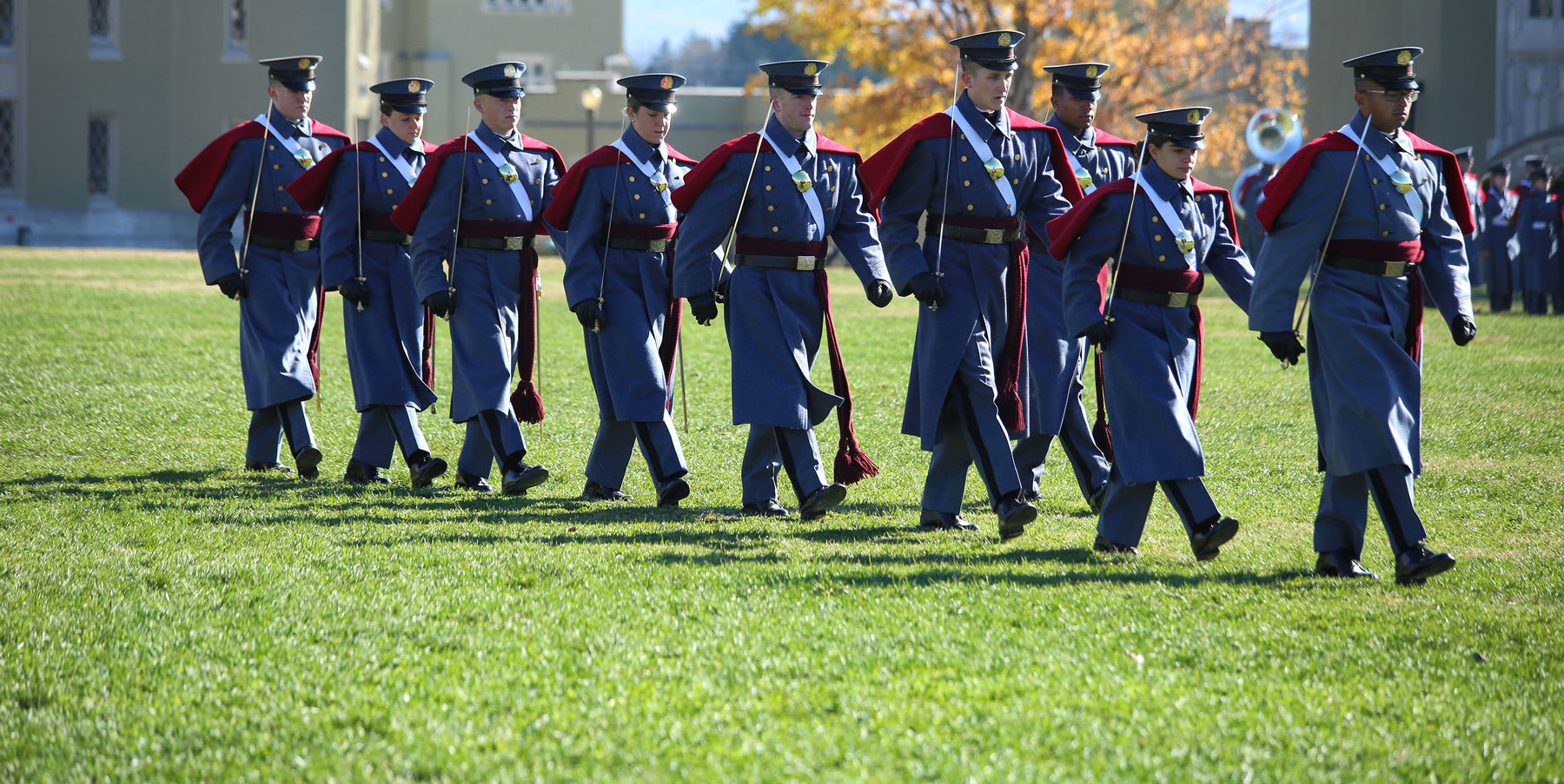 Cadets marching on lawn at Post